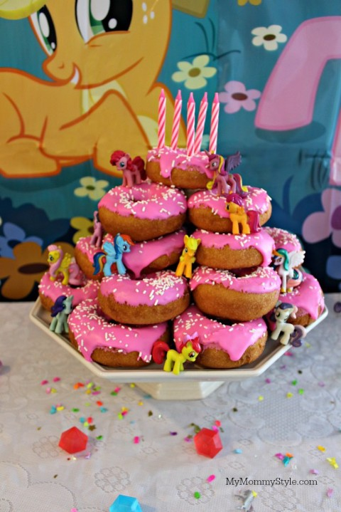 My Little pony party, easy pony party, my mommy style, party for girls, donut cake, cake donut