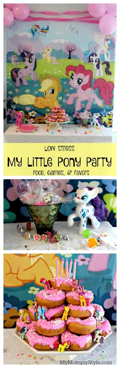 my little pony party, pony party, my little pony, donut cake, doughnut cake