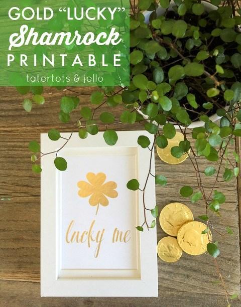 Gold lucky shamrock printable
