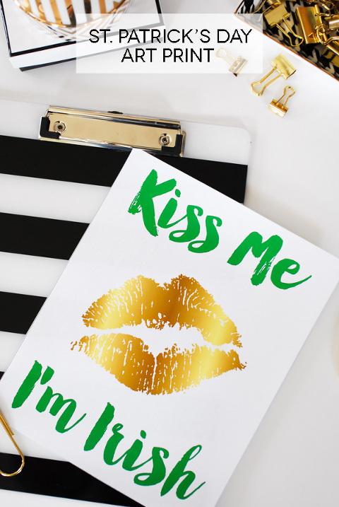 St patrick's day kiss me I'm irish printable