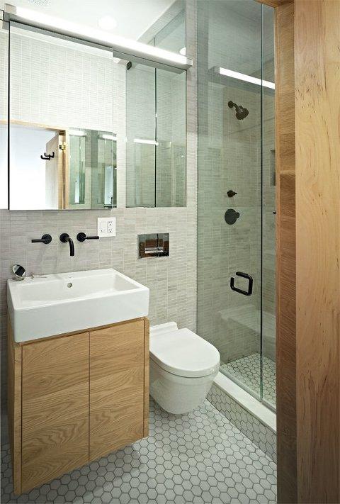 Light wood with mosaic tiles bathroom
