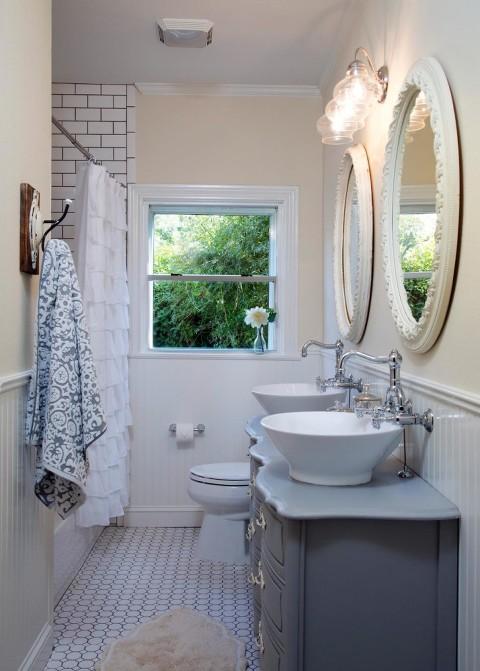 Honeycomb Tile Floor with Dark Vanity in Bathroom