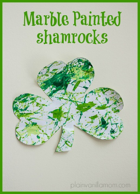 Marble painted shamrocks for St. Patrick's Day