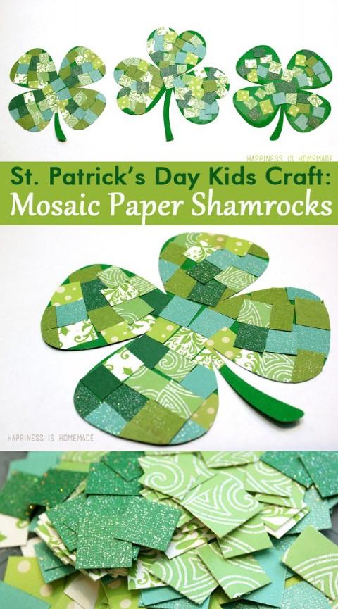 St. Patrick's day kids craft Mosaic paper shamrocks