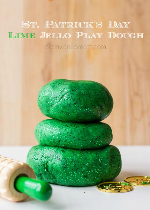 St. Patrick's day lime jello play dough