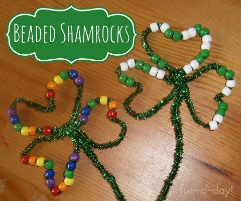 beaded shamrocks for St. Patrick's Day