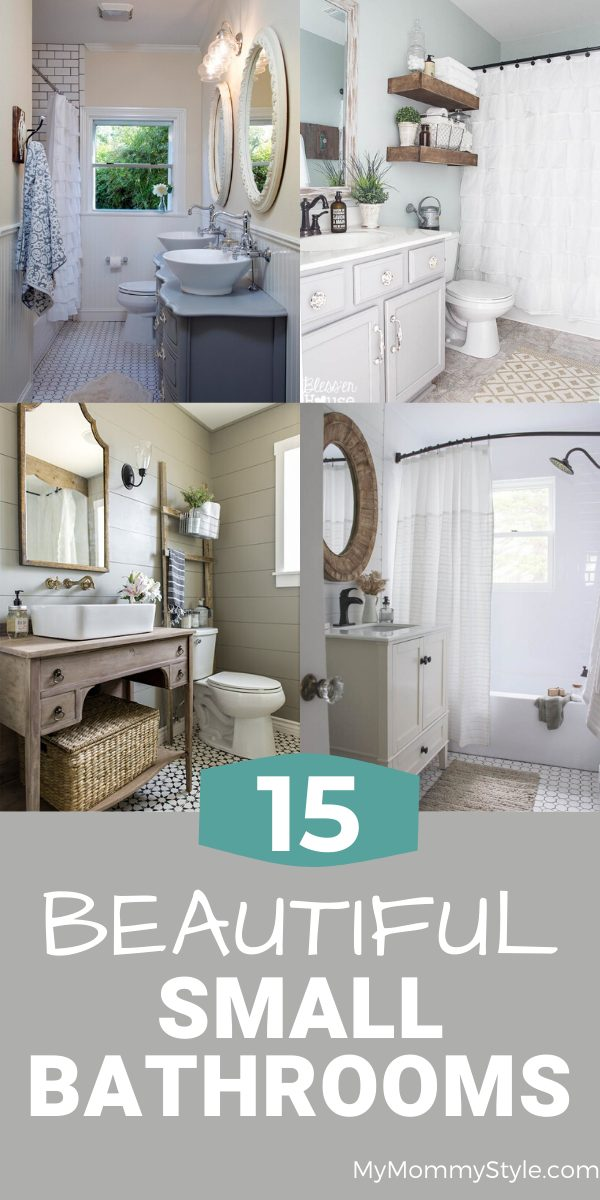 Decorating a small bathroom can be a challenge. Here are 15 beautiful small bathrooms to give you inspiration to create that perfect space in your home. #beautifulsmallbathroom #smallbathroomideas via @mymommystyle