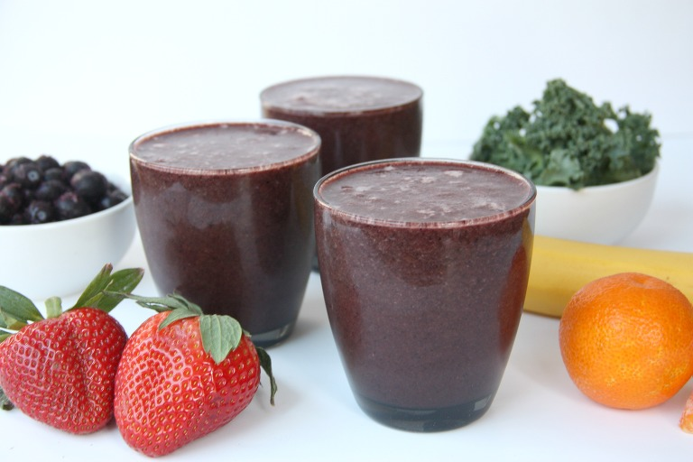 Rainbow smoothie with fruit