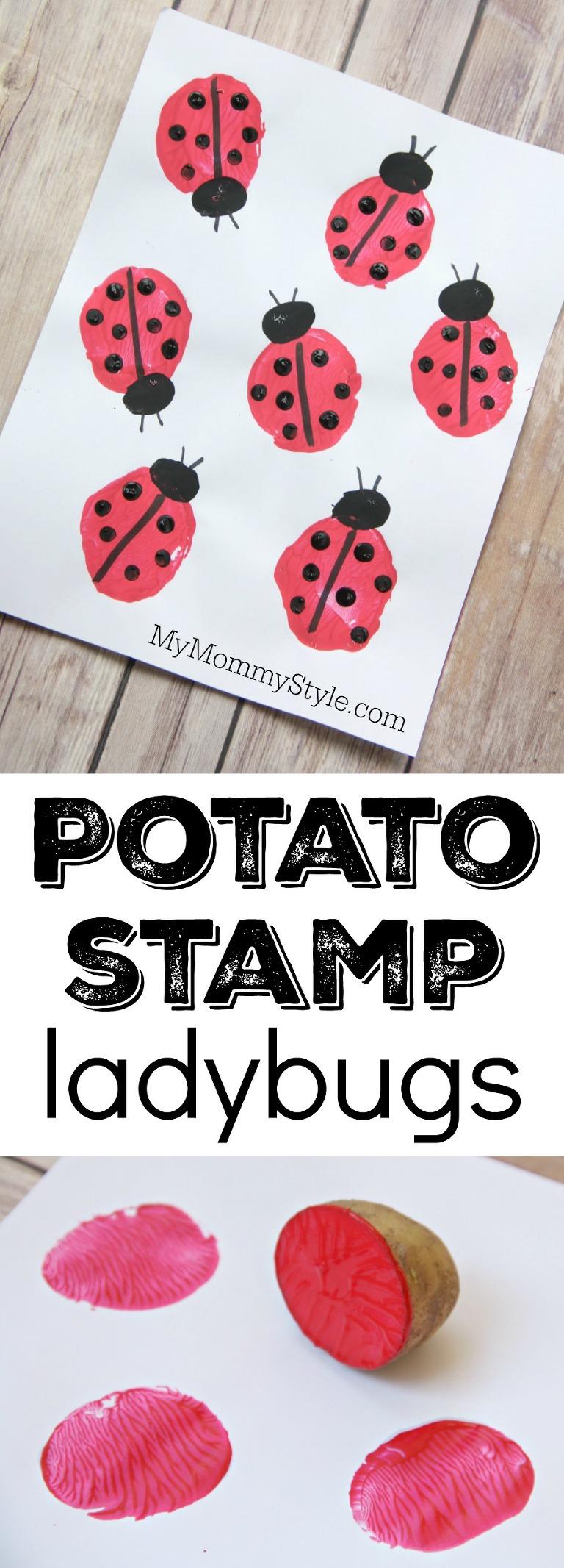 Potato stamp ladybugs