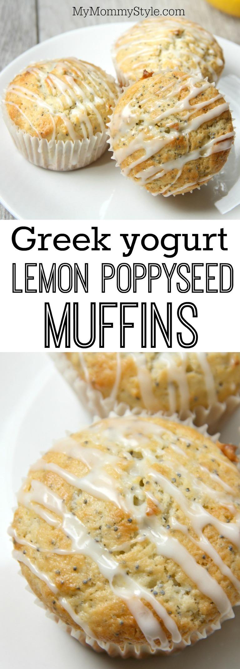 Greek yogurt lemon poppyseed muffins