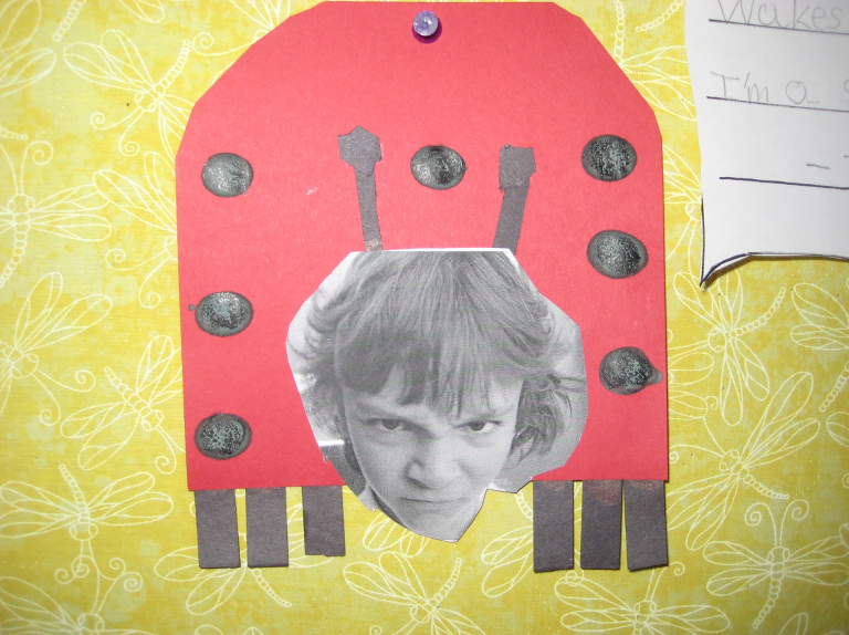 Ladybug craft of ladybug with picture of a child making a grouchy face.