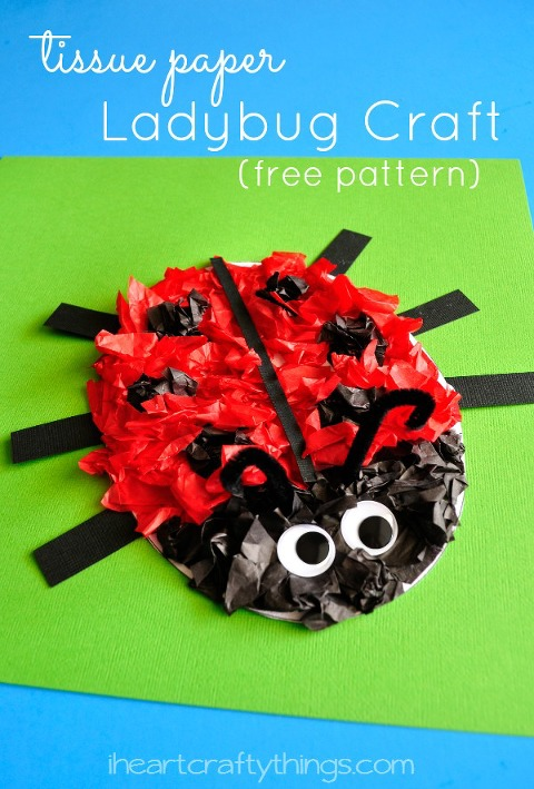 Tissue paper ladybug craft