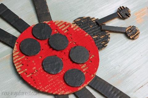Cardboard painted Ladybug craft