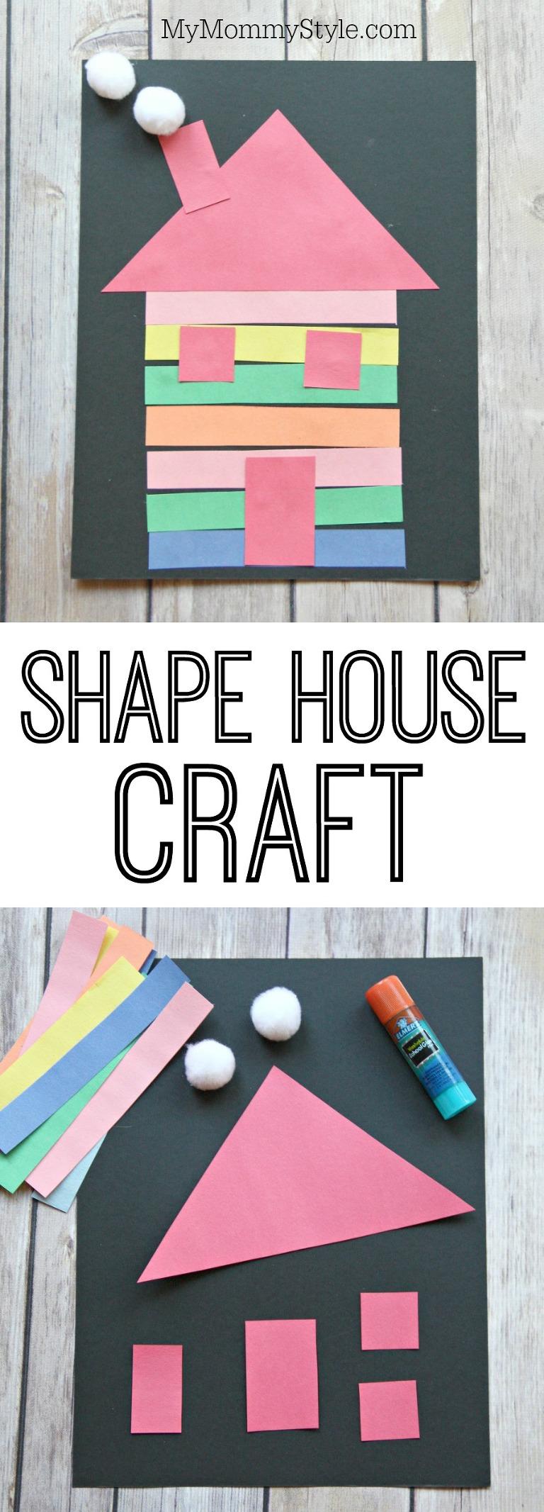 Shape house craft for preschoolers