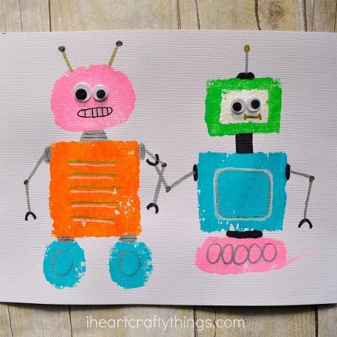 sponge painted shape robots