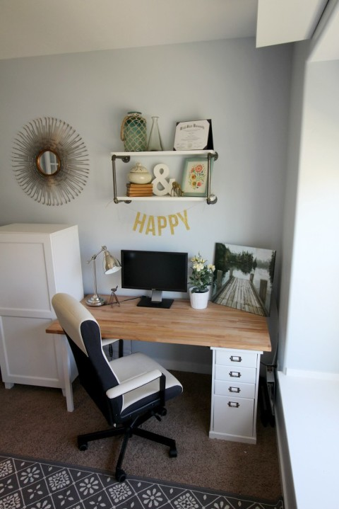 happy office space, clean, office, home office