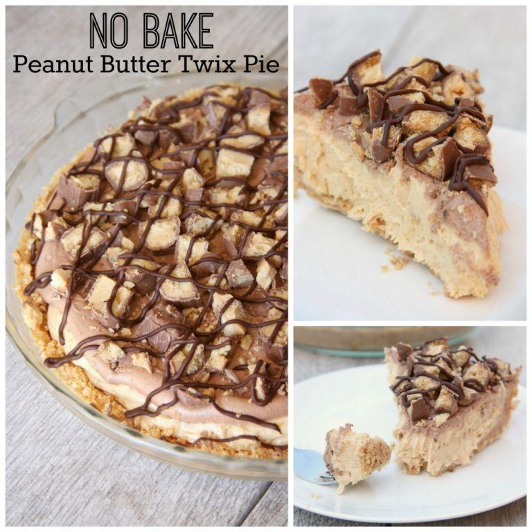 No Bake Peanut Butter Twix Pie