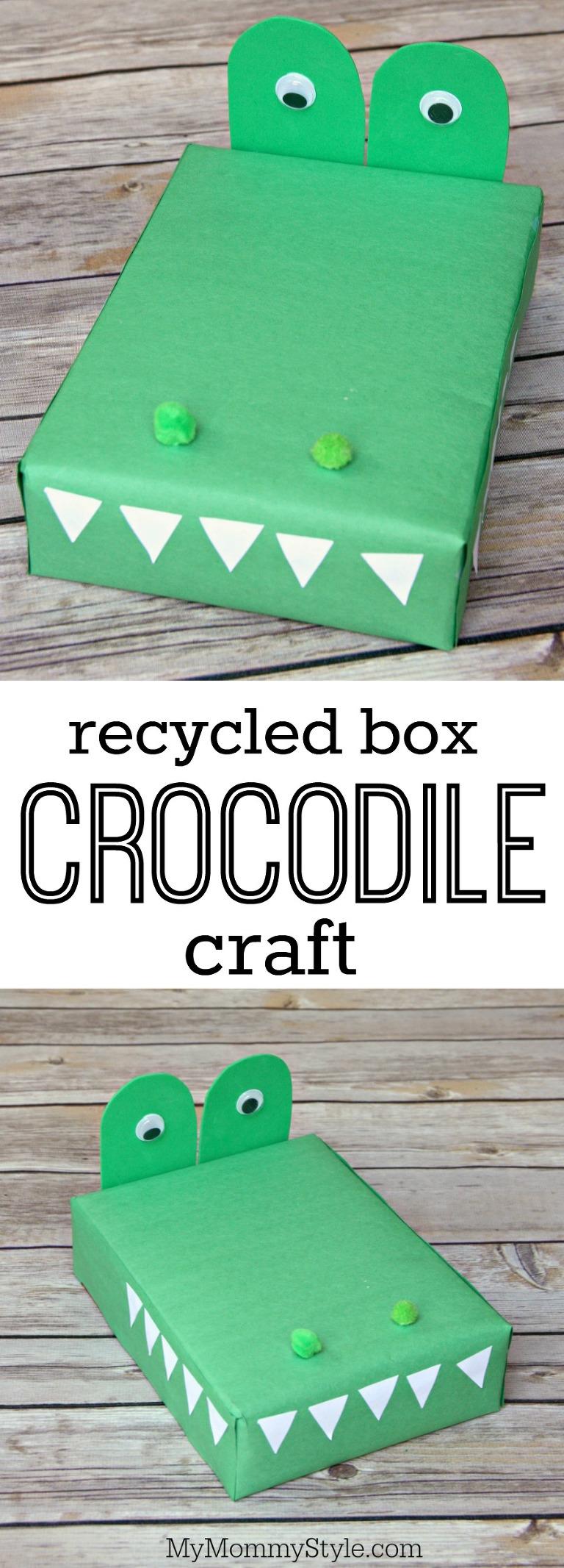recyled box crocodile craft