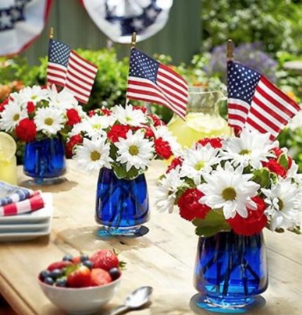 Floral patriotic centerpieces