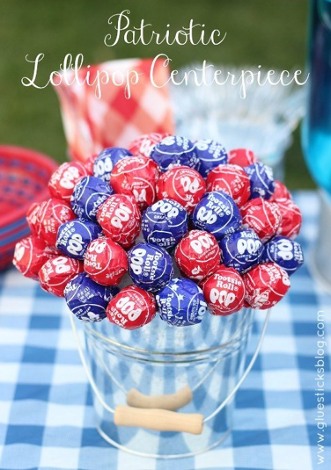 patriotic lollipop centerpiece