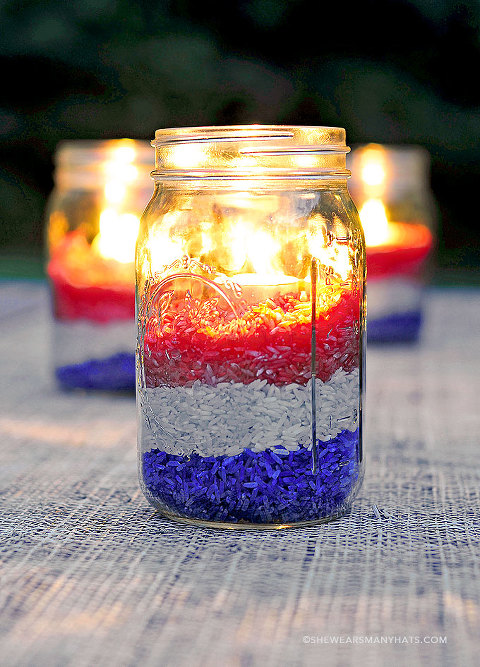 red white and blue rice centerpieces