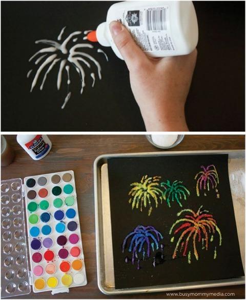 salt painting fireworks