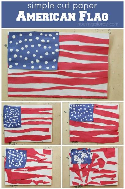 simple cut paper american flag