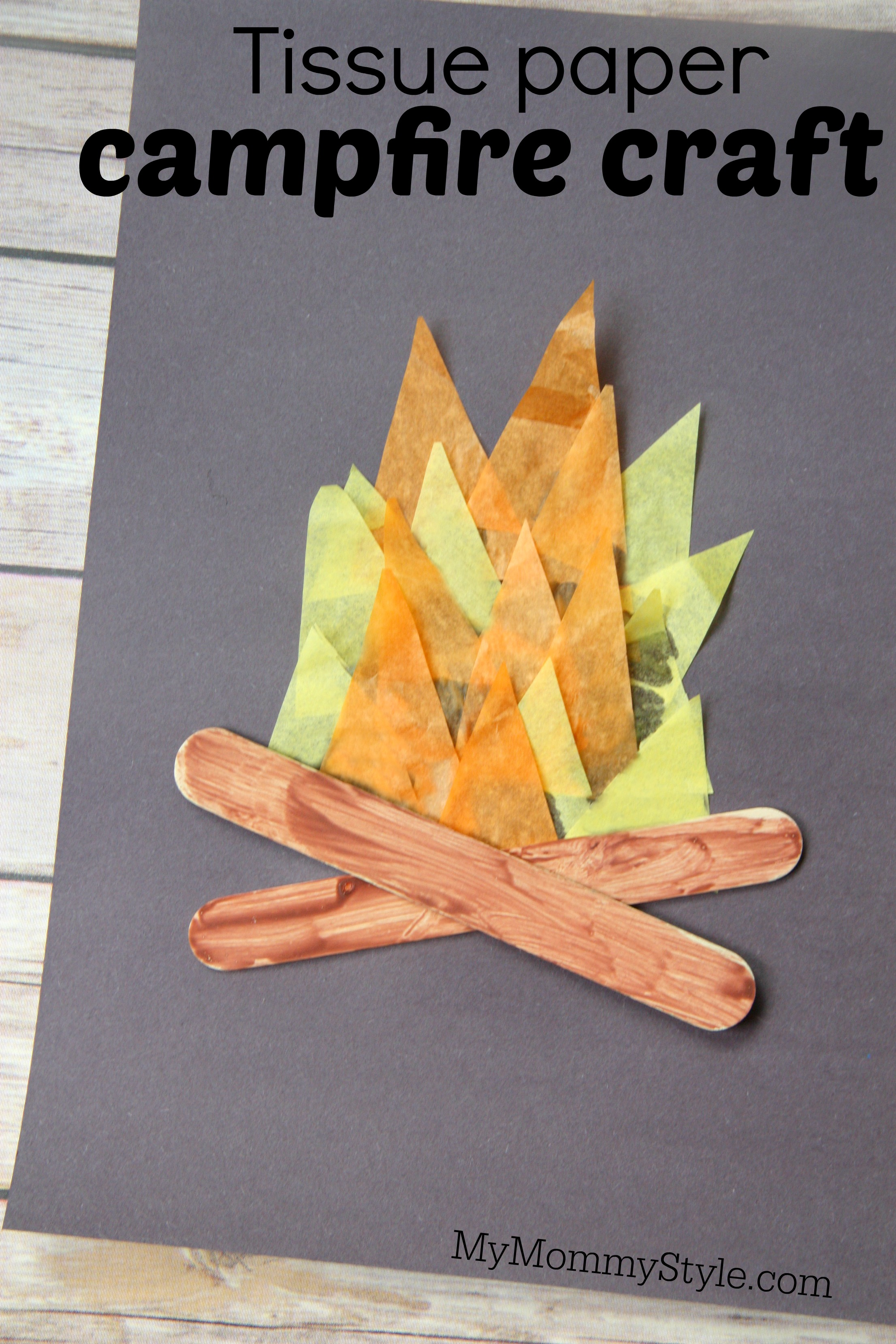 Tissue paper campfire craft my mommy style for Tissue paper for crafts