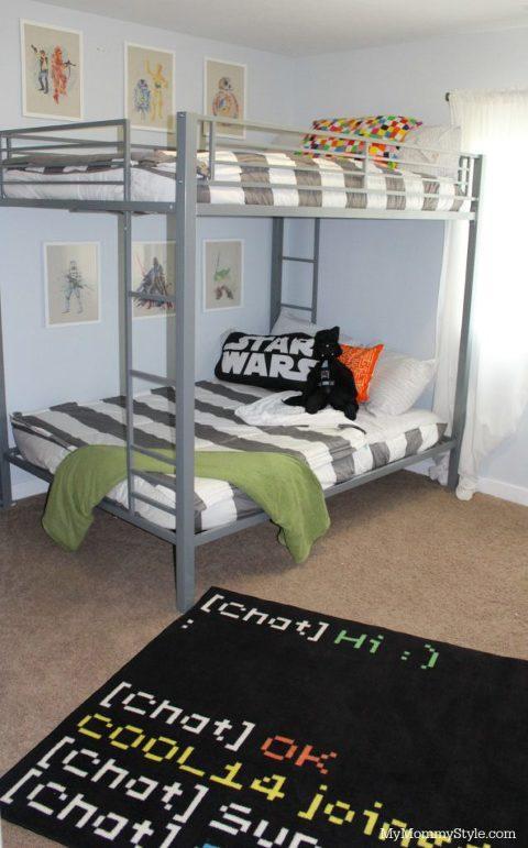 Star Wars shared room, bunk beds, star wars room, striped bedding, bunk bed
