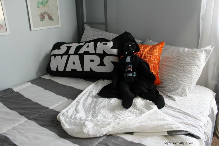 Star Wars shared room, bunk beds, star wars room, striped bedding, bunk bed, beddys, bedding