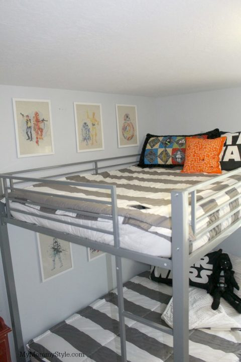 Star Wars shared room, bunk beds, star wars room, striped bedding, bunk bed, gray and white striped bedding