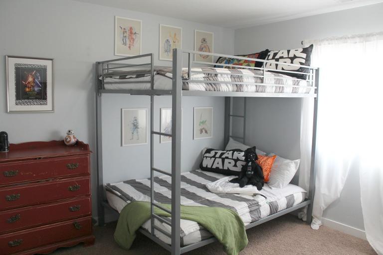 Star Wars shared room, bunk beds, star wars room, striped bedding, bunk bed, shared room