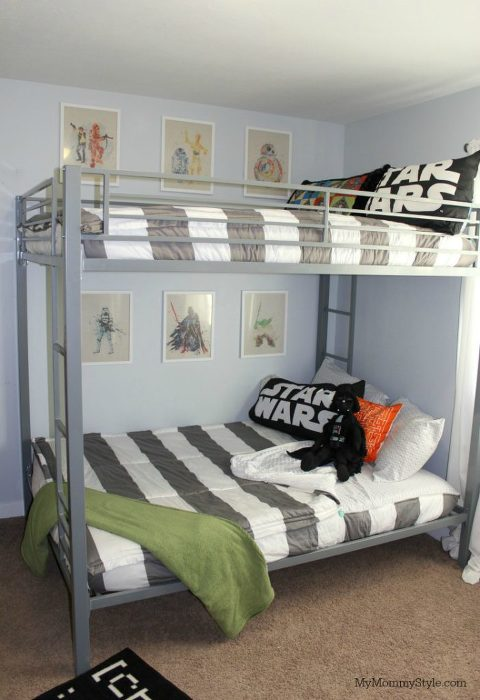 Star Wars shared room, bunk beds, star wars room, striped bedding, bunk bed, star wars prints, wall art
