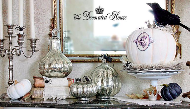 Silver Halloween decor Mantel