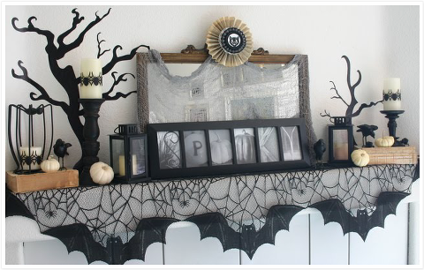 Spooky Halloween Mantel with Bat garland
