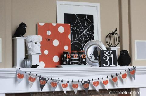 Pumpkin Garland Simple Halloween Mantel.