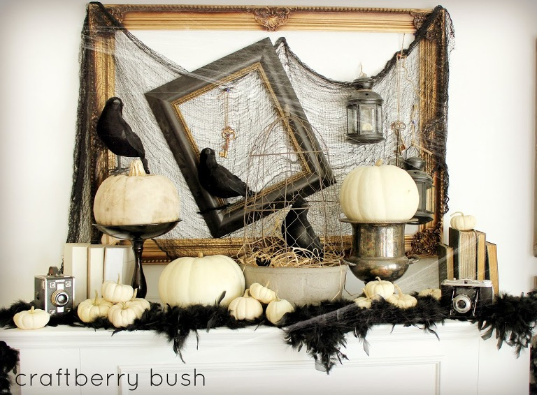 Crows and white pumpkins Halloween Mantel