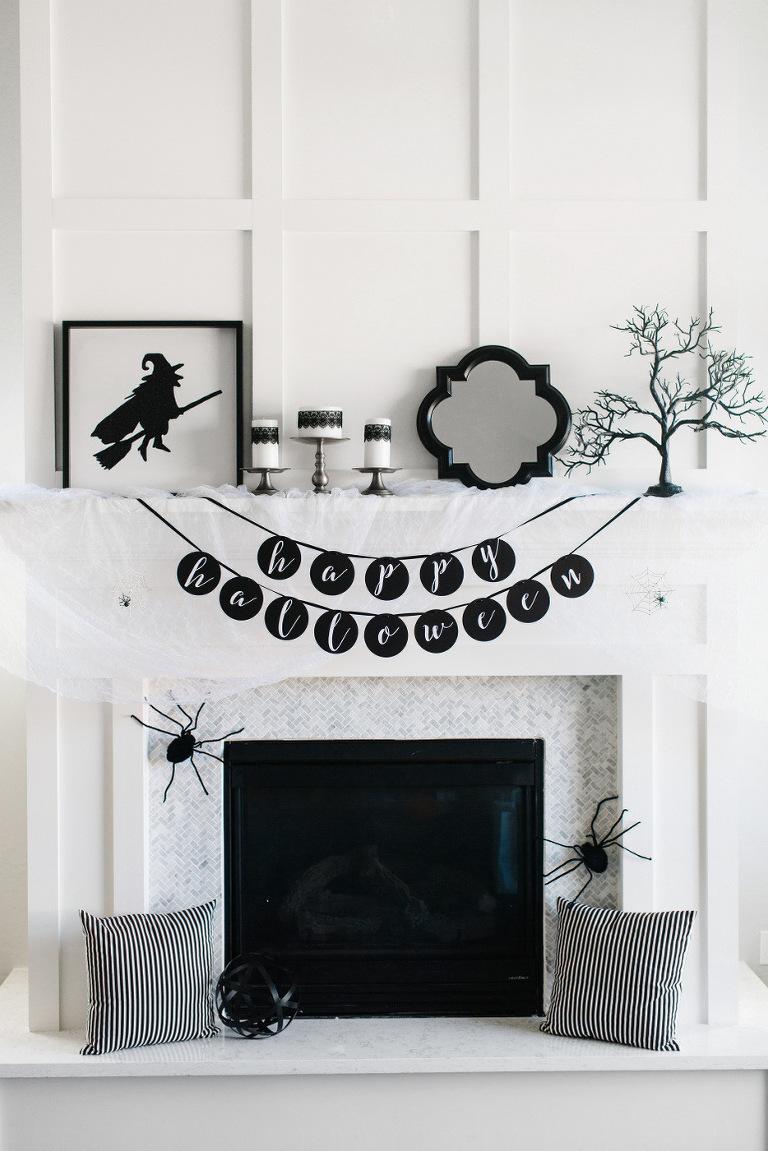 Black and White Halloween decor.