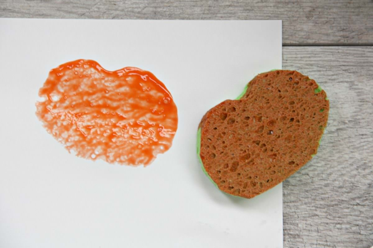 Dip The Sponge Into Orange Paint And Press Onto Paper Creates A Cool Textured Stamp Let It Dry For Bit Then On Face Stem
