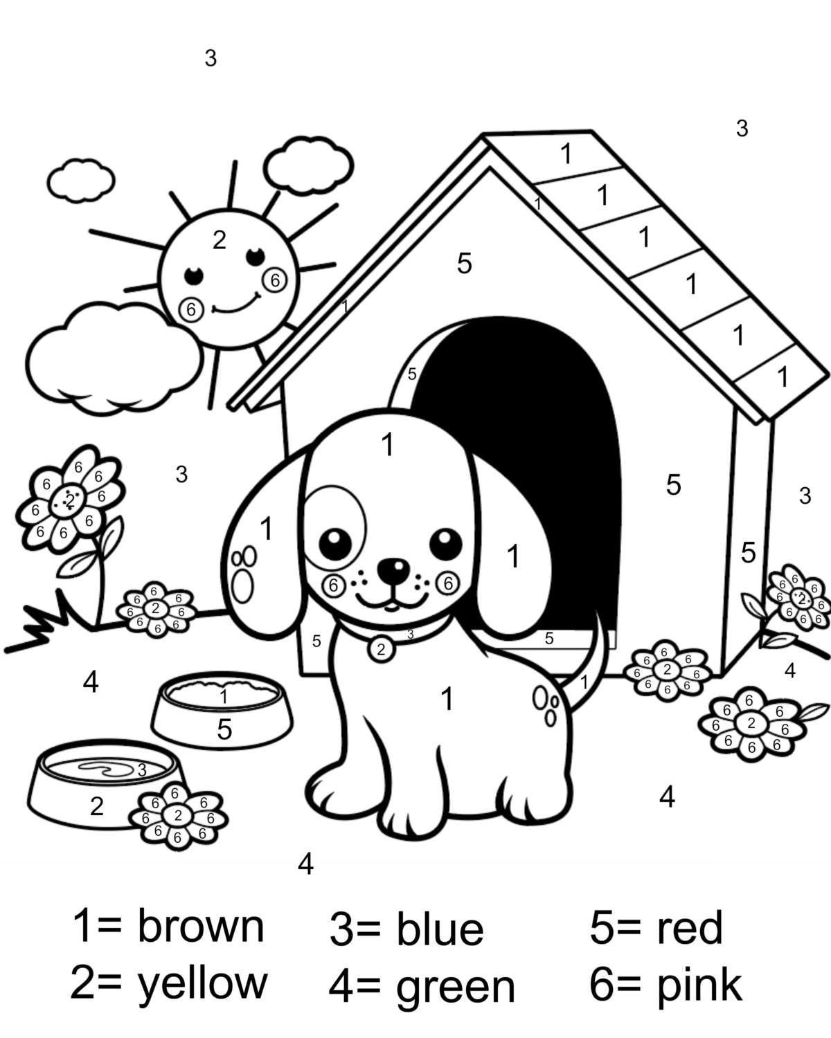 Color by number coloring page free printable my mommy style for Printable color by number pages for kids