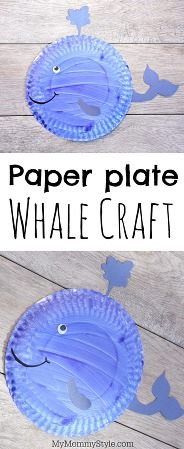 Paper plate craft for preschoolers, this whale is made from a painted paper plate. Paper plate whale craft is fun for a rainy day activity or an under the sea preschool activity.