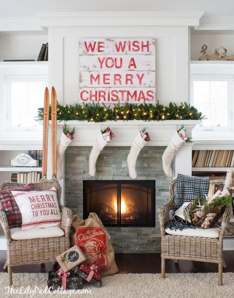 We Wish you a Merry Christmas Mantel