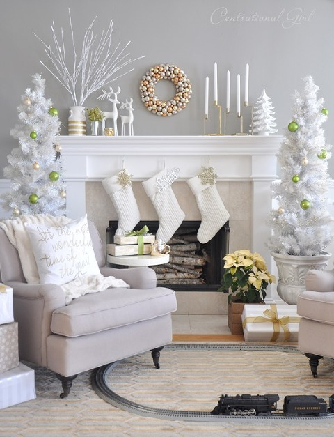 White with lime green christmas mantel