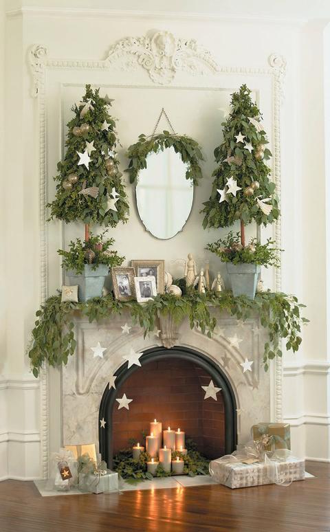 Greenery christmas mantel