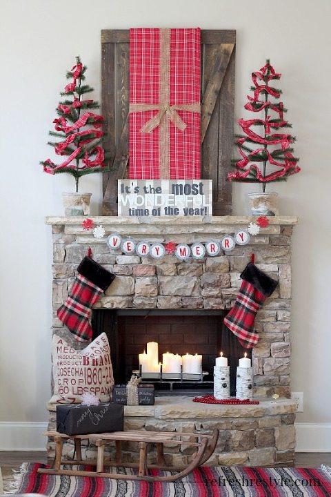 Red and black christmas mantel