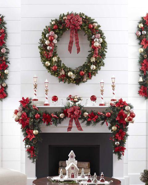 Ornament wreaths christmas mantel