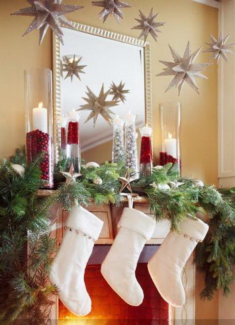 Stars christmas mantel