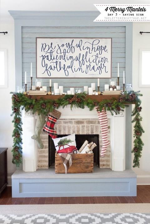 Blue wood christmas mantel