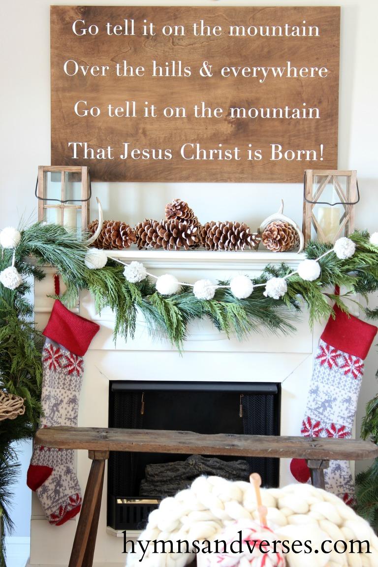Pine garland christmas mantel