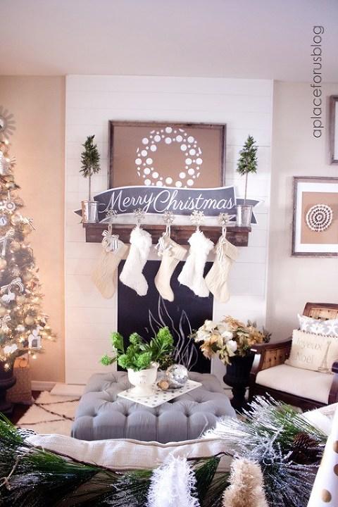 White gray christmas mantel